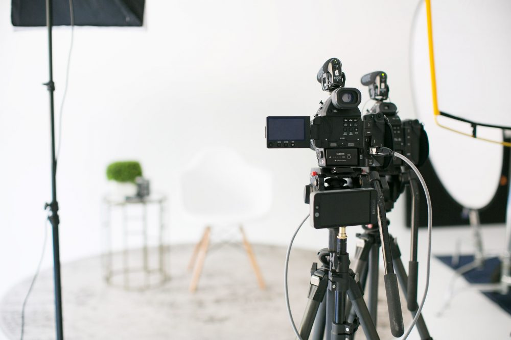 Close up of professional camera and equipment in Portico Pictures studio